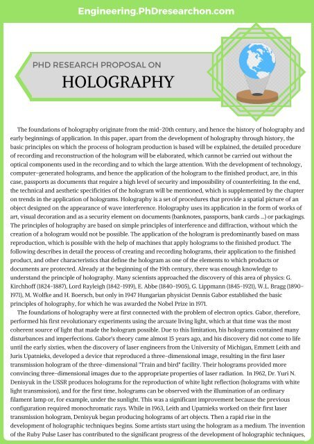 Holography PhD Research Proposal Sample