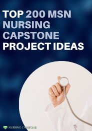 Professional MSN Nursing Capstone Project Ideas