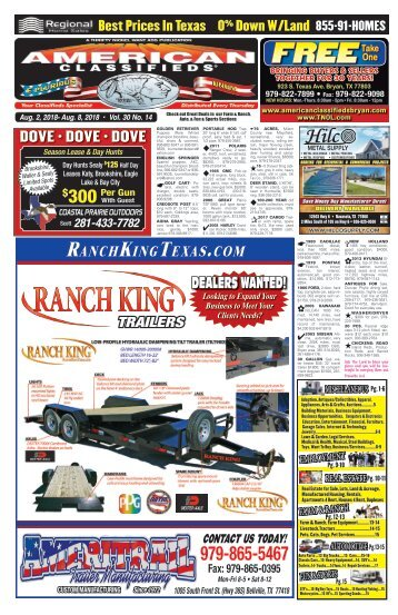 American Classifieds/Thrifty Nickel Aug. 2nd Edition Bryan/College Station