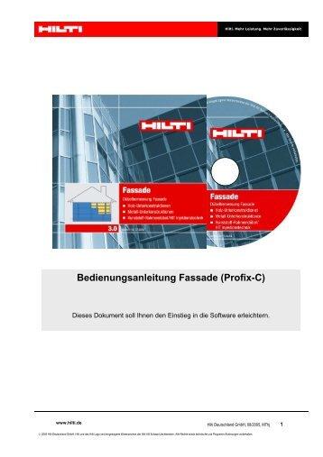 Bedienungsanleitung Fassade (Profix-C) - Hilti Deutschland GmbH