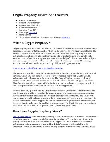 Crypto Prophecy Review