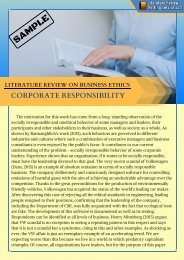 Literature Review on Business Ethics Sample
