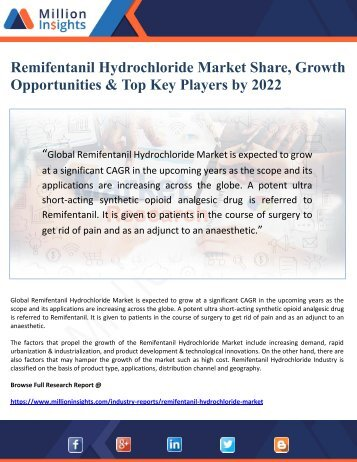 Remifentanil Hydrochloride Market Share, Growth Opportunities & Top Key Players by 2022