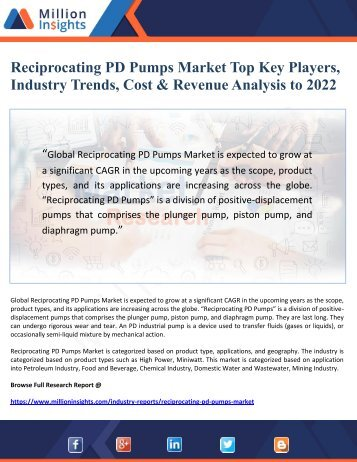 Reciprocating PD Pumps Market Top Key Players, Industry Trends, Cost & Revenue Analysis to 2022