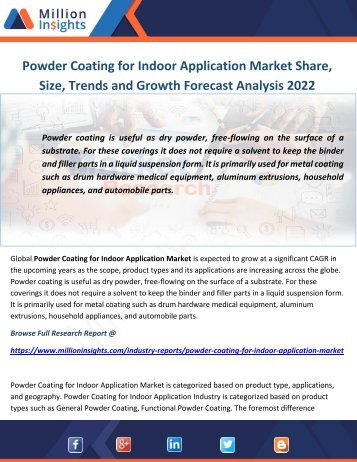 Powder Coating for Indoor Application Market Share, Size, Trends and Growth Forecast Analysis 2022