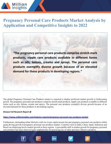 Pregnancy Personal Care Products Market Analysis by Application and Competitive Insights to 2022