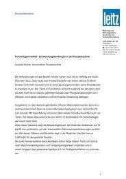Fenstertypenvielfalt - Entwicklungstendenzen in der ... - PresseBox