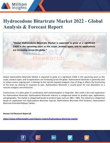 Hydrocodone Bitartrate Market 2022 - Global Analysis & Forecast Report