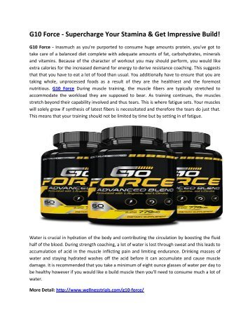 G10 Force - Boost Your Testosterone & Stamina Naturally!