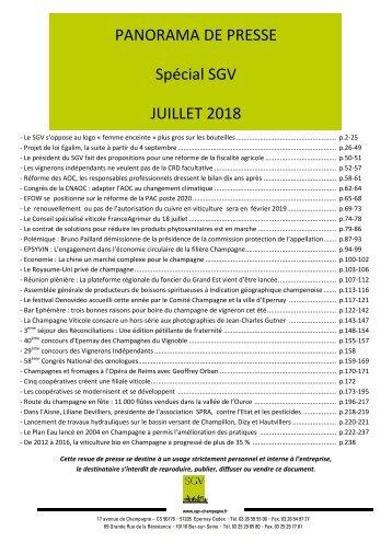 Panorama de presse Spécial SGV juillet 2018
