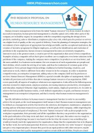 PhD Research Proposal on Human Resource Management Sample