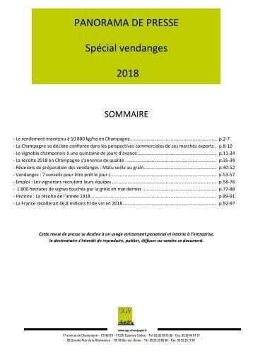 Panorama de presse  Spécial VENDANGES 2018