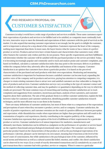PhD Research Proposal on Customer Satisfaction Sample