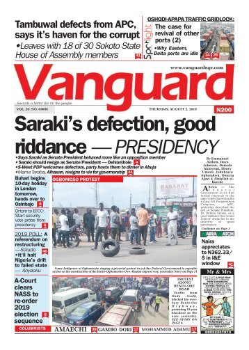 02082018 - Saraki's defection, good riddance — PRESIDENCY