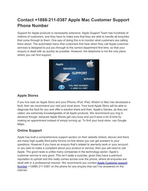 Apple Mac Customer Support Phone Number