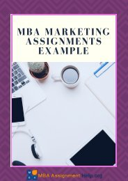 MBA Marketing Assignments Examples