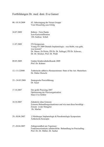 Fortbildungen Dr. med. dent. Eva Ganser