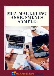 MBA Marketing Assignments Sample