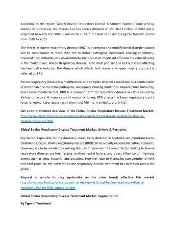 Bovine Respiratory Disease Treatment Market 2023