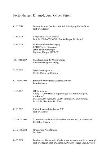 Fortbildungen Dr. med. dent. Oliver Petsch - Dr. Eva Ganser, Dr ...