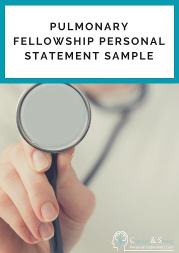 Pulmonary Fellowship Personal Statement Sample