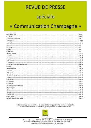 Panorama de presse spécial Communication Champagne