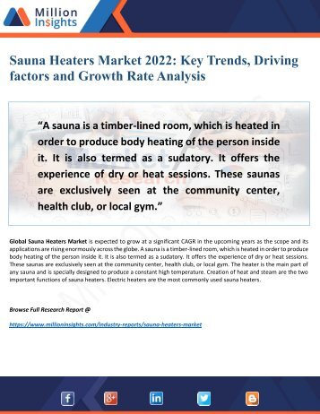 Sauna Heaters Market Driving Factors, Growth and Applications