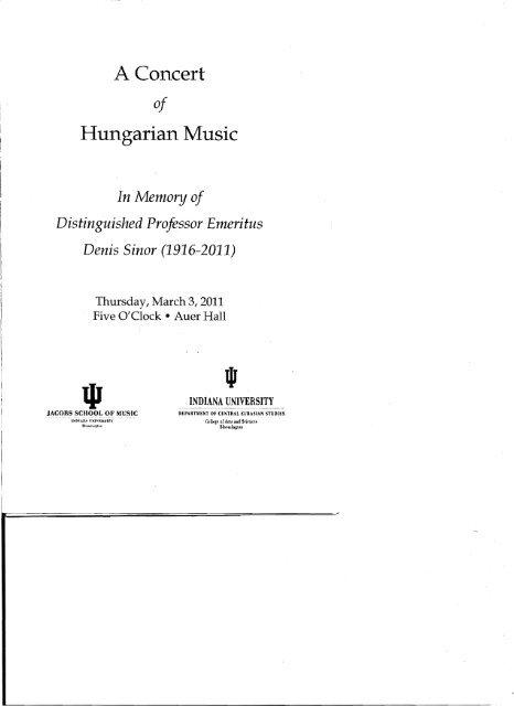 A Concert Hungarian Music - Indiana University