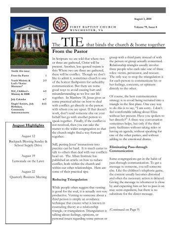 The TIE Newsletter August 2018 - First Baptist Church - Winchester, VA
