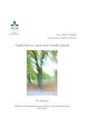 Upplevelser av natur utan visuella intryck - SLU