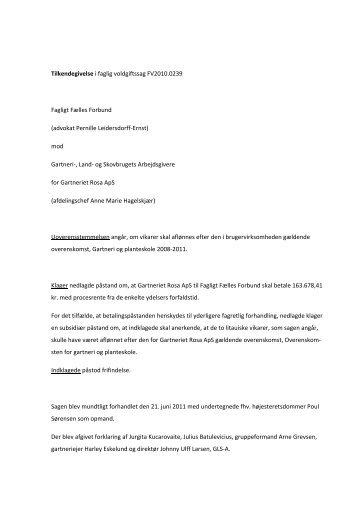 Tilkendegivelse i faglig voldgiftssag FV2010.0239 ... - Arbejdsretten