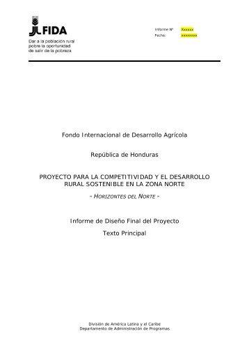 Fondo Internacional de Desarrollo Agrícola República de Honduras ...