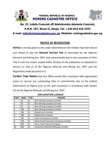 notice of revocation - Nigerian Mining Cadastre Office