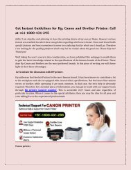 Get Instant Guidelines for Hp, Canon and Brother Printer: Call at +61-1800-431-295