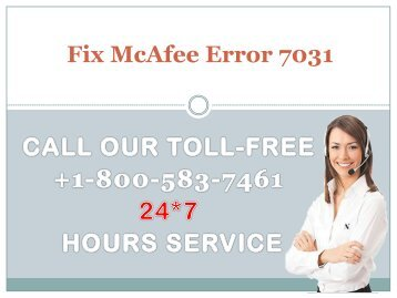 Fix McAfee Error 7031