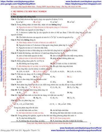 HỆ THỐNG CÂU HỎI TRẮC NGHIỆM PHÂN DẠNG BÀI TẬP VÀ VÍ DỤ MINH HỌA HÓA 11 CHƯƠNG 2+3 NGUYỄN MINH TUẤN