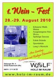 Samstag von 12:00 - Schreinerei Wolf Holz im Raum