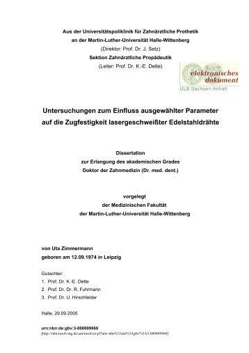 Untersuchungen zum Einfluss ausgewählter Parameter auf die ...