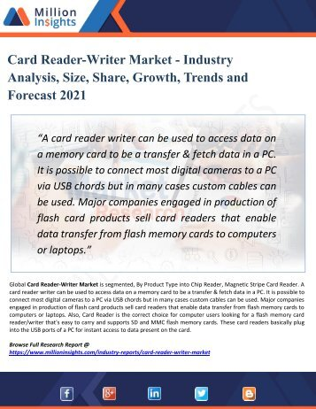 Card Reader-Writer Market Supplier, Competition by Manufacturers and Competitor Analysis to 2021 Forecast