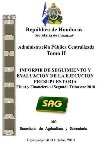 140 Secretaría de Agricultura y Ganadería República de Honduras ...