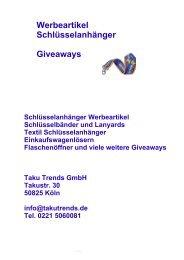 Werbeartikel Schlüsselanhänger Lanyards Einkaufswagenlöser Katalog
