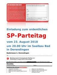 Einladung zum ordentlichen SP-Parteitag vom 23. August