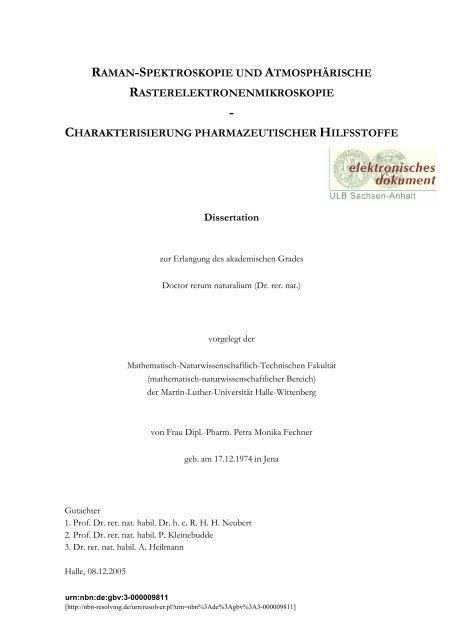 raman spektroskopie dissertation