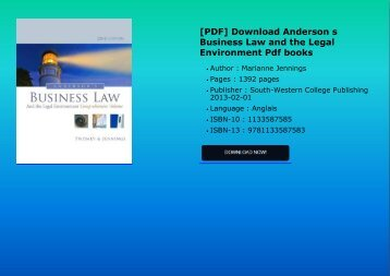 PDF Download Anderson s Business Law and the Legal Environment Pdf books