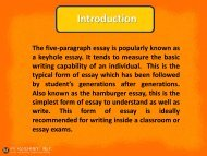 Modifying the structure of the five-paragraph essay