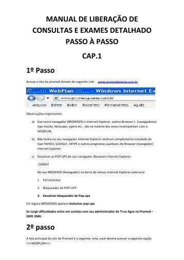 MANUAL DE LIBERAÇÃO DE CONSULTAS E EXAMES ... - Promed