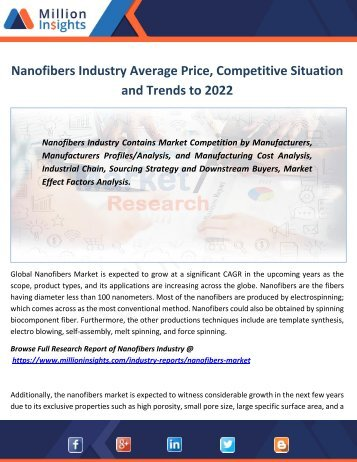 Nanofibers Industry Average Price, Competitive Situation and Trends to 2022