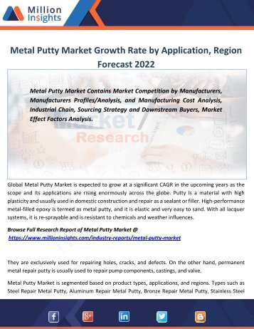 Metal Putty Market Growth Rate by Application, Region Forecast 2022