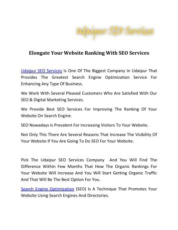 Elongate Your Website Ranking With SEO Services