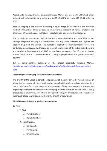 Diagnostic Imaging Market Analysis Report 2023